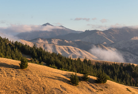sunset over Wither Hills in South Island, New Zealand