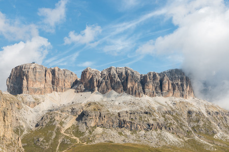 steep: granite peaks at Sella Group massif, Dolomites, Northern Italy Stock Photo