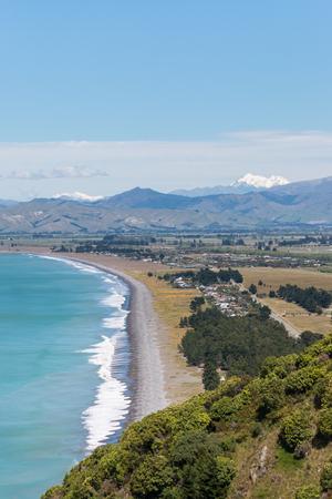 marlborough: aerial view of Cloudy Bay with Rarangi beach in New Zealand