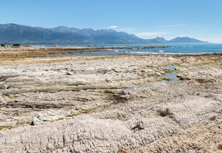 Kaikoura coastline at low tide, South Island, New Zealand Stock Photo