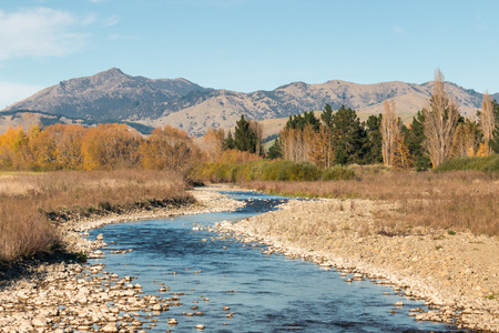 Wither Hills with Taylor River in Marlborough, South Island, New Zealand 写真素材 - 101151108
