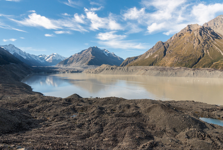 Tasman Lake with Tasman Glacier in Mount Cook National Park, Southern Alps, New Zealand