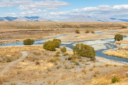 Tekapo river meandering across Mackenzie Country in South Island, New Zealand Reklamní fotografie