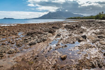 rocky beach near Plum in New Caledonia with Mont-Dore mountain at low tide Stock Photo