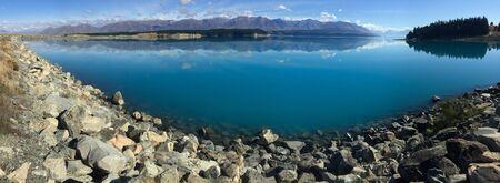 panoramic view of lake Pukaki in Mackenzie Basin, South Island, New Zealand