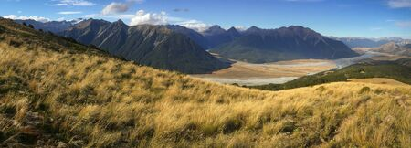 panoramic view of mountain ranges in Arthurs Pass National Park, South Island, New Zealand