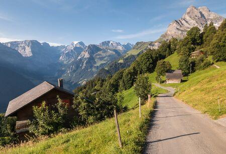 Ortstock peak above Braunwald village and Linth valley in the Glarus Alps, Switzerland
