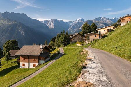 wooden huts in Braunwald village in Glarus Alps in Switzerland