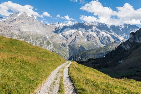 hiking track above Lauterbrunnen valley in Bernese Alps, Switzerland