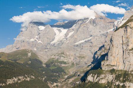 Bernese Alps panorama with Eiger glacier and cumulus clouds, Switzerland Zdjęcie Seryjne