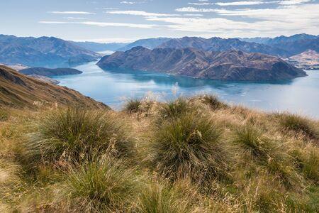 Lake Wanaka in Mount Aspiring National Park from Roys Peak, Southern Alps, New Zealand Stock Photo