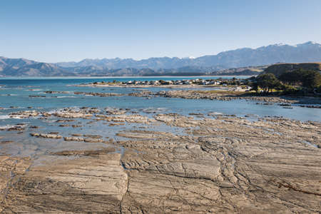 aerial view of rocky beach at low tide in South Bay, Kaikoura, New Zealand