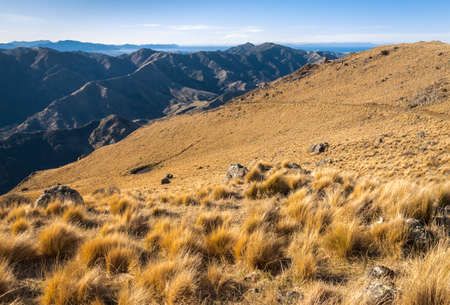 hiking track above Awatere Valley in Marlborough, South Island, New Zealand