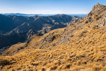 grassy slope above Awatere Valley in Marlborough region of South Island, New Zealand 스톡 콘텐츠