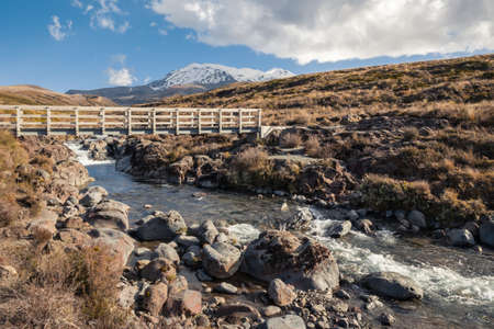 wooden bridge across Mahuia River with Mount Ruapehu in distance, Tongariro National Park, New Zealand