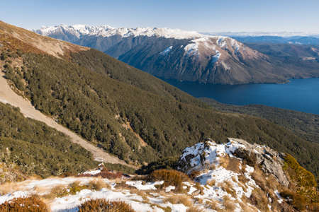 aerial view of snow covered Mount Robert in Nelson Lakes National Park, South Island, New Zealand