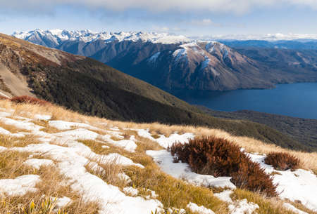 snow covered mountain ranges in Nelson Lakes National Park in winter, South Island, New Zealand