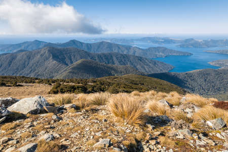 view of mountain ranges in Marlborough Sounds from Mount Stokes summit, South Island, New Zealand 스톡 콘텐츠