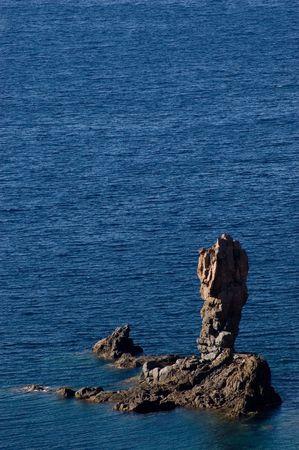 Little steep stone island near Corsica seashore