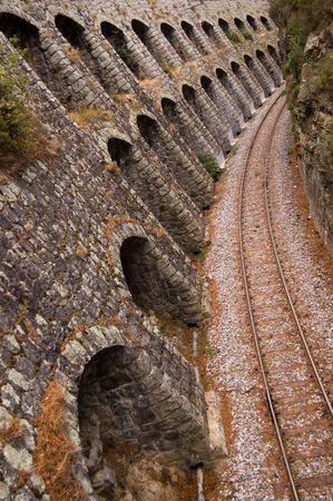 Railroad track in narrow Corsica glen