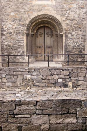 Beautiful old wodden door in Dublin, Ireland photo