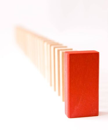 Queue of block with red leader, conceptual image Stock Photo