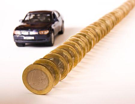 Queue of euro coins  and car, conceptual image