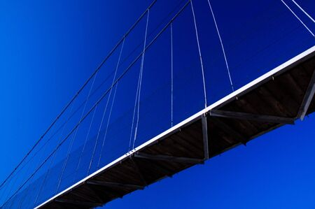 Suspension bridge and blue sky without clouds