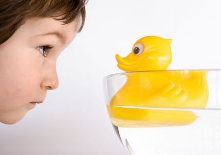 Three years old boy watch to the eyes of duck