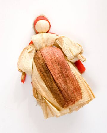 Traditional slovak historical toy - corn husk doll Stock Photo