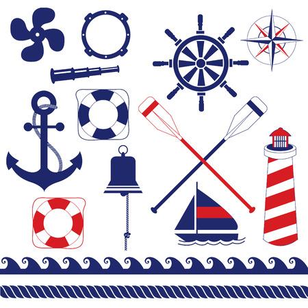 Nautical equipments element set Vector