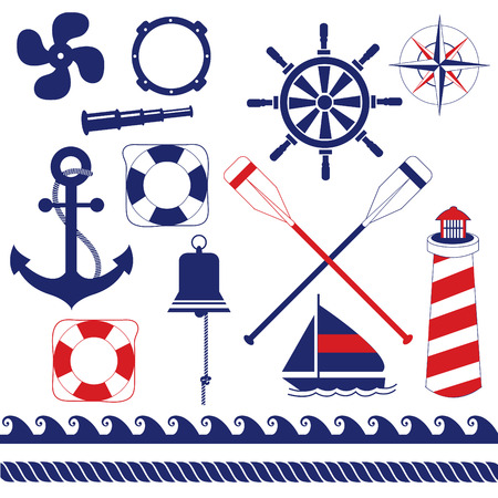 red and blue: Nautical equipments element set Illustration
