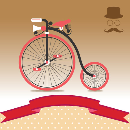 recreational pursuit: Vintage Retro Bicycle 1885 Illustration