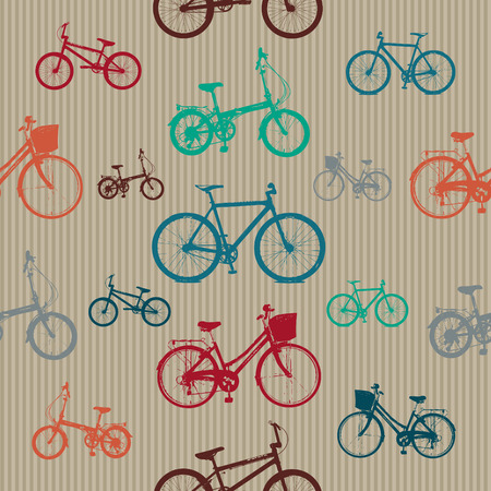 foldable: Vintage Bicycles Seamless Pattern Vector for Use