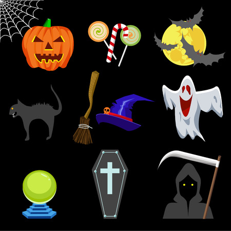 Vector Illustration of Cute Halloween Icons Vector