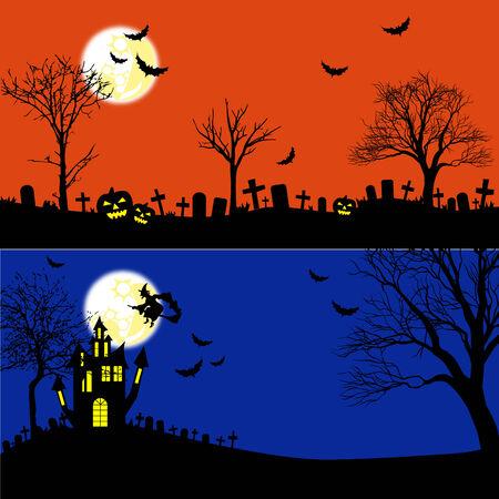 Horizontal Halloween Banners Set  Vector