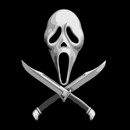 thriller: Scream Scary Thriller Knife Icons Vector