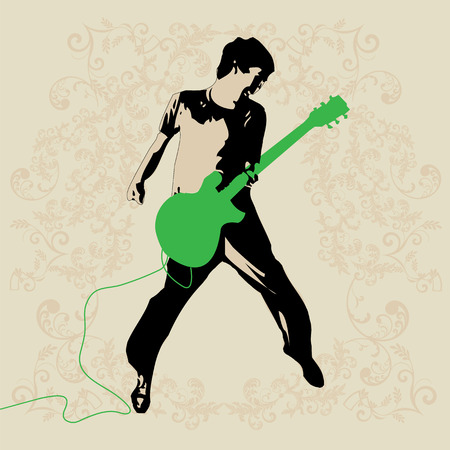 Young Rockers Guitar Player Vector Иллюстрация