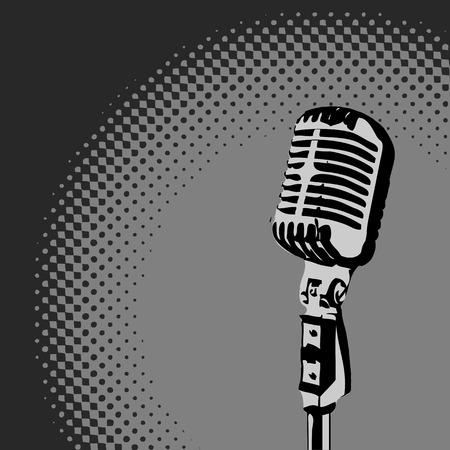 vocal: Retro Microphone Grayscale Spotlight  Illustration
