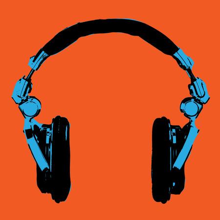 Headphones Pop Art Dj Style Vector