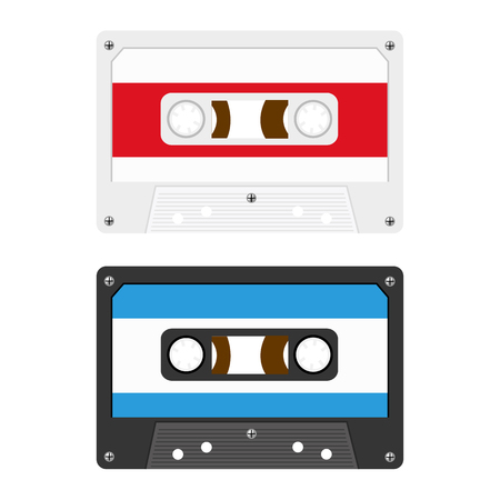 Retro Audio Cassette Tapes Illustration Vector