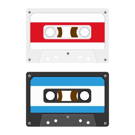 audio cassette: Retro Audio Cassette Tapes Illustration