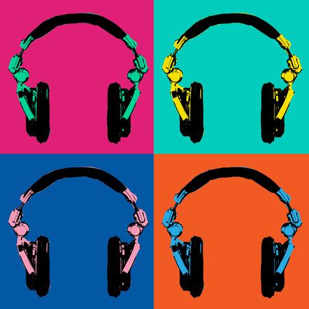 Headphones Pop Art Dj Style 2 Vector