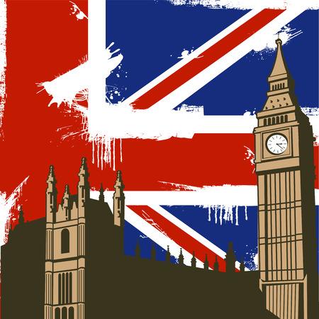 Grunge British  Design with Big Ben London Vector