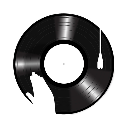 Turntable flat icon on the button Vector