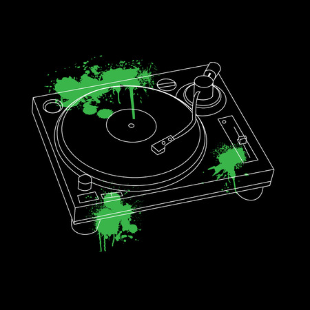 dj turntable: Turntable Outline Stencil Design vector Illustration