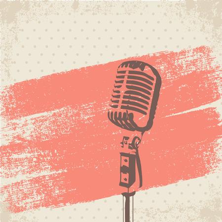 microfono de radio: Micrófono retro cepillo Stencil vector Vectores