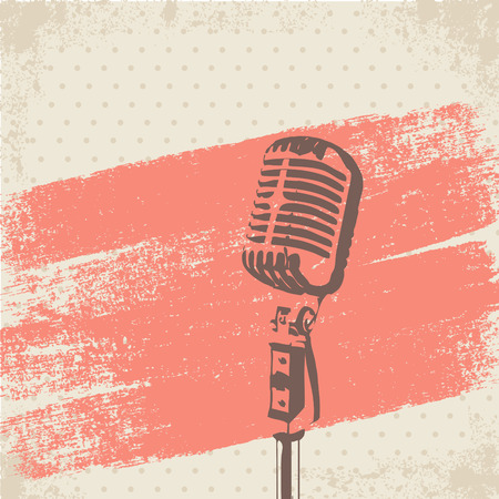 Retro Microphone Brush Stencil vector