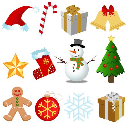 weihnachtskuchen: Weihnachten Elemente gesetzt Illustration