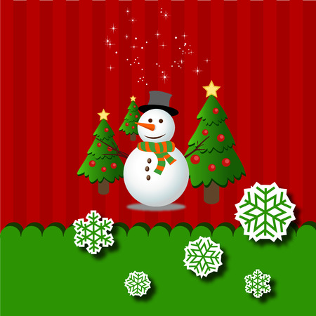 green tree: Merry christmas snowman, green tree and snowflake Greeting Card vector